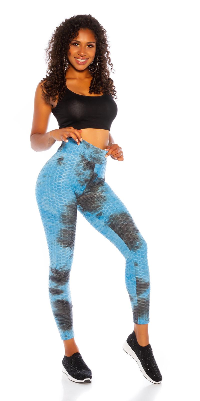 Trendy hoge taille leggings met watercolor-print blauw