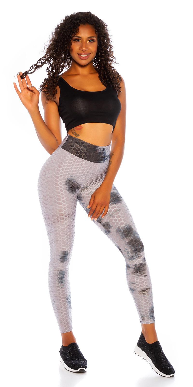 Trendy hoge taille leggings met watercolor-print grijs