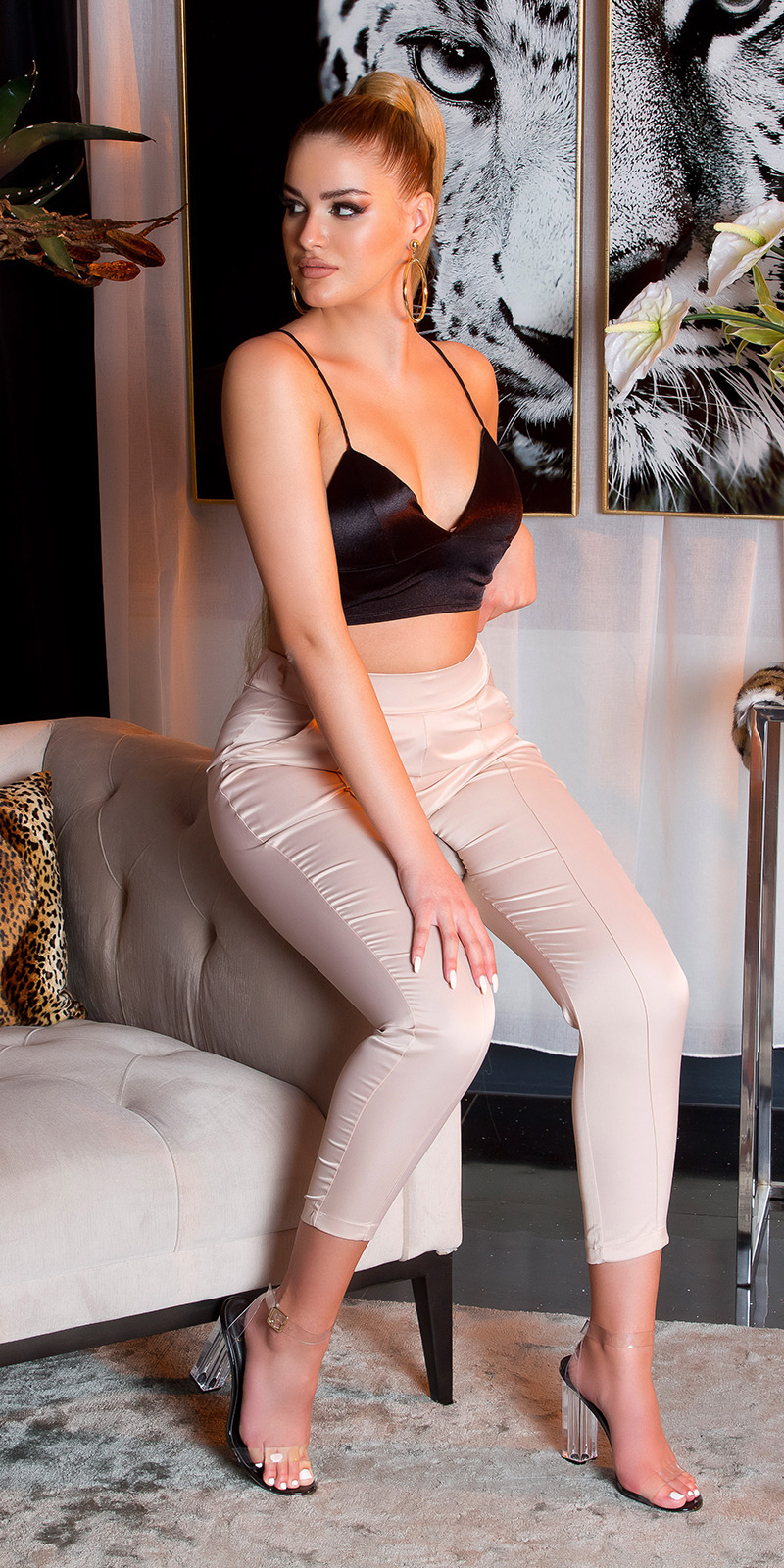 Trendy glans stoffen broek beige
