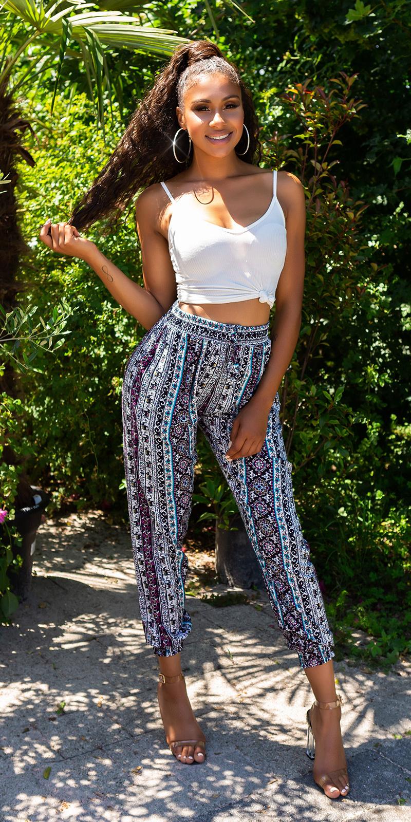 Trendy hoge taille zomer-broek met print turkoois-kleurig