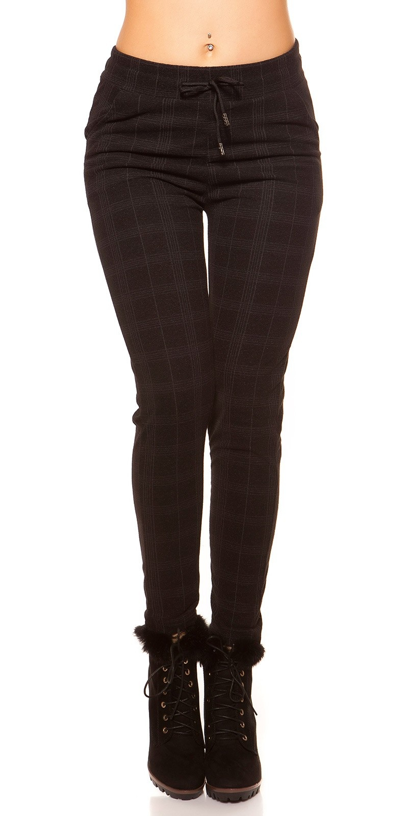 Trendy Business Look Treggings Plaid Pattern Anthracite