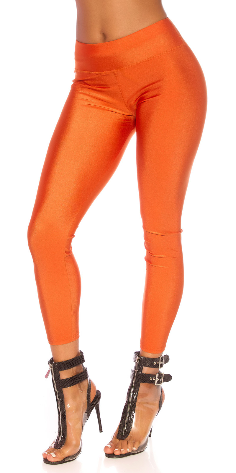 Sexy metallic-look leggings oranje