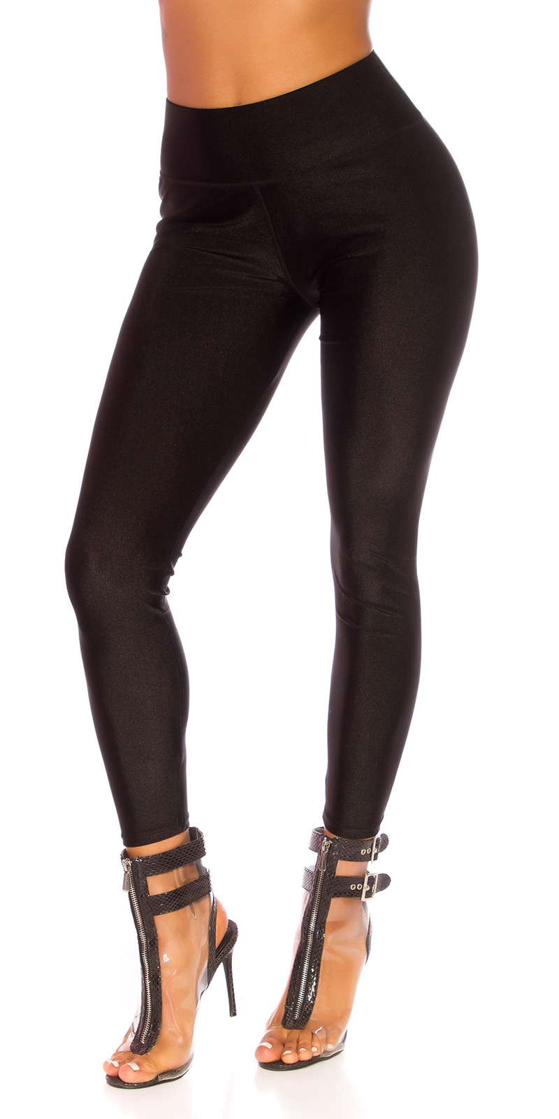 Sexy metallic-look leggings zwart