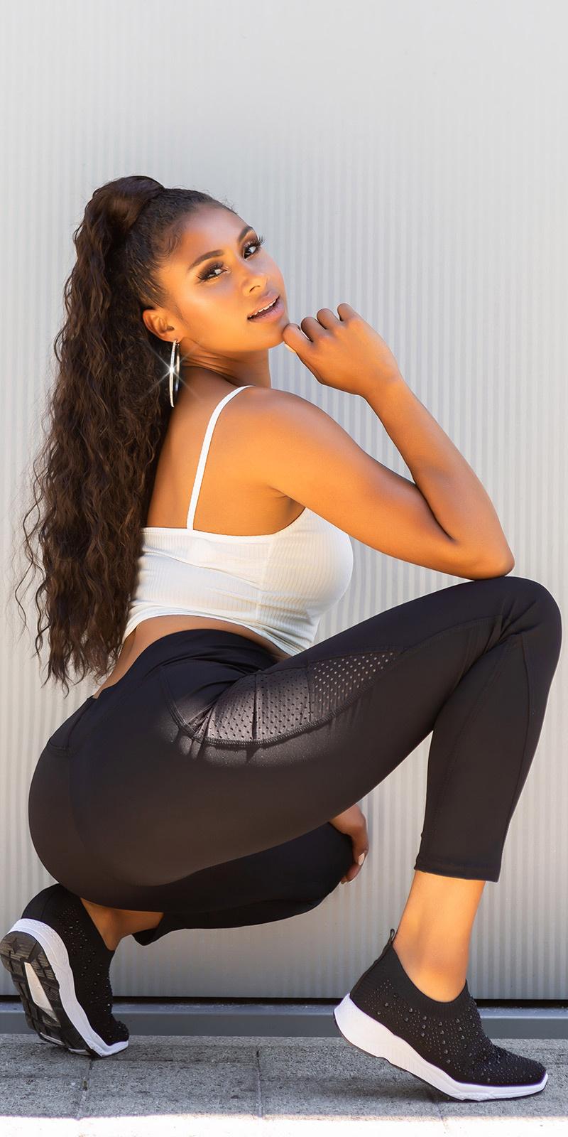Sexy hoge taille leggings met zakken zwart