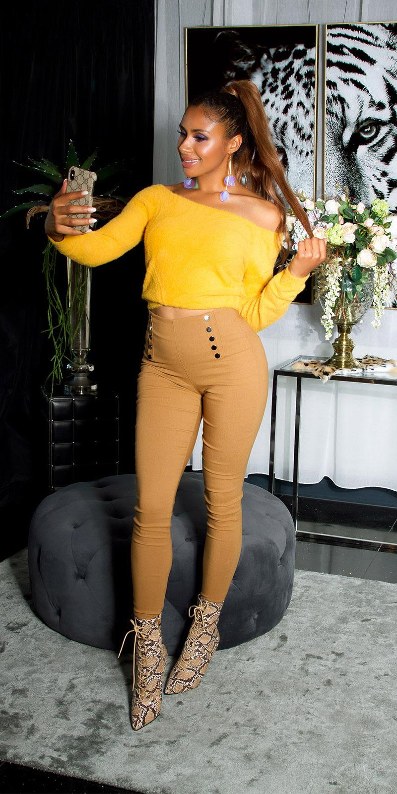 Sexy skinny hoge taille broek met decoratieve knopen brons