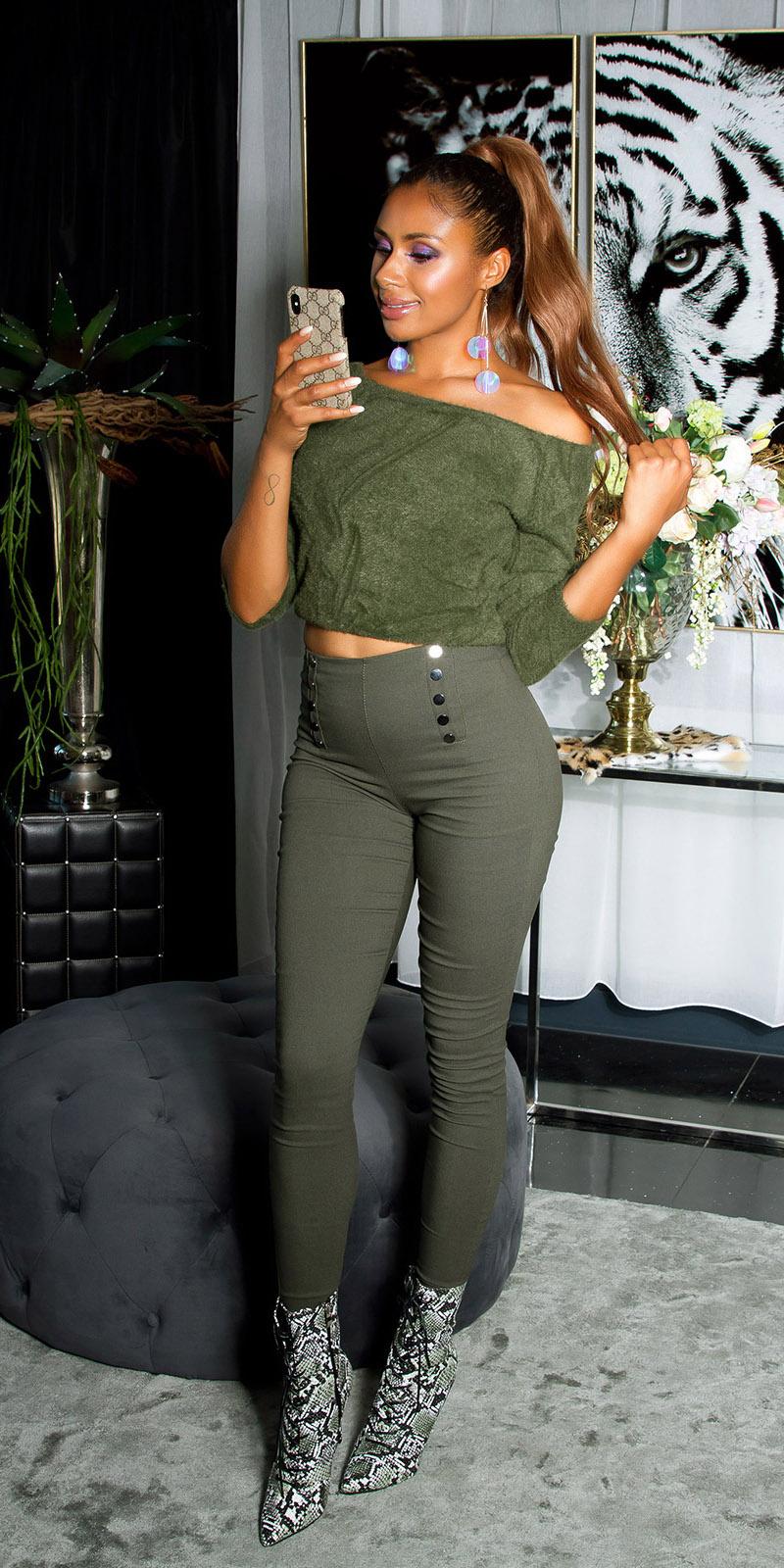Sexy skinny hoge taille broek met decoratieve knopen khaki