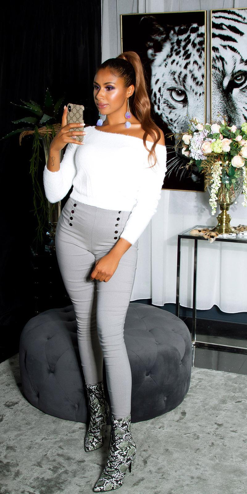 Sexy skinny hoge taille broek met decoratieve knopen gray
