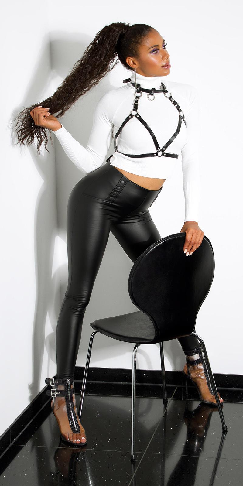 Sexy faux leder leggings met decoratieve knopen zwart