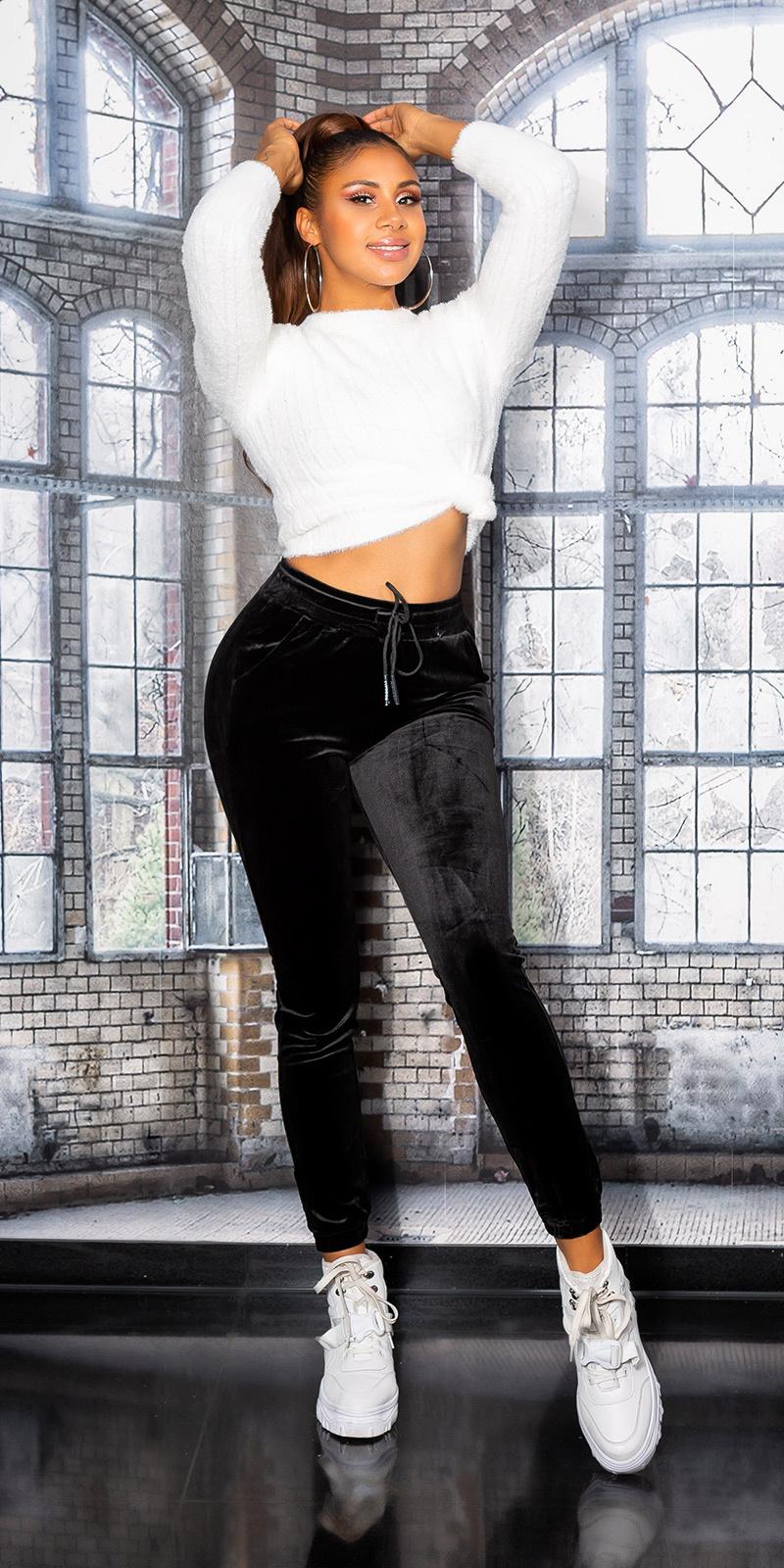Sexy sporty fluweel broek zwart