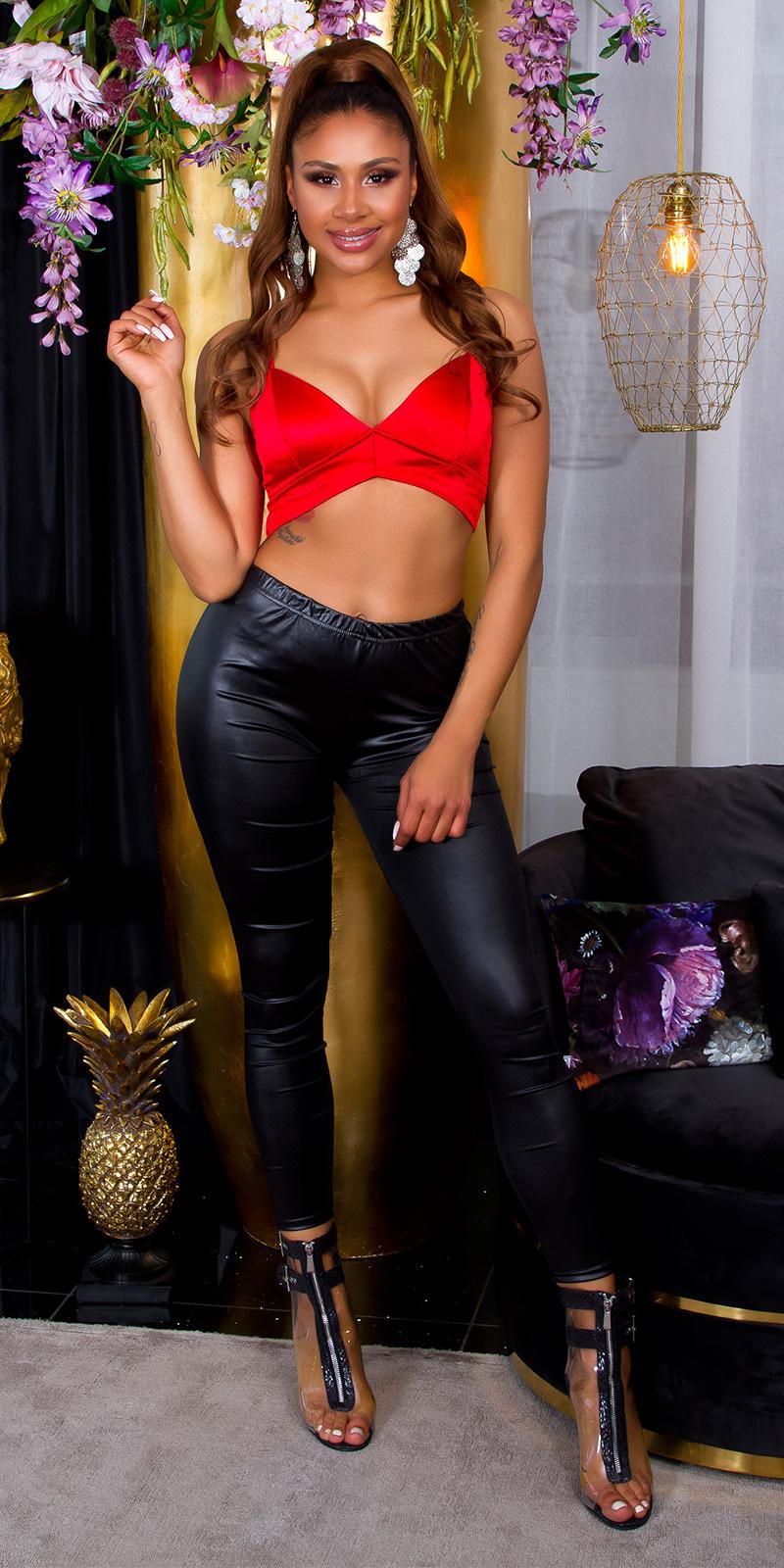 Sexy wetlook leggings zwart