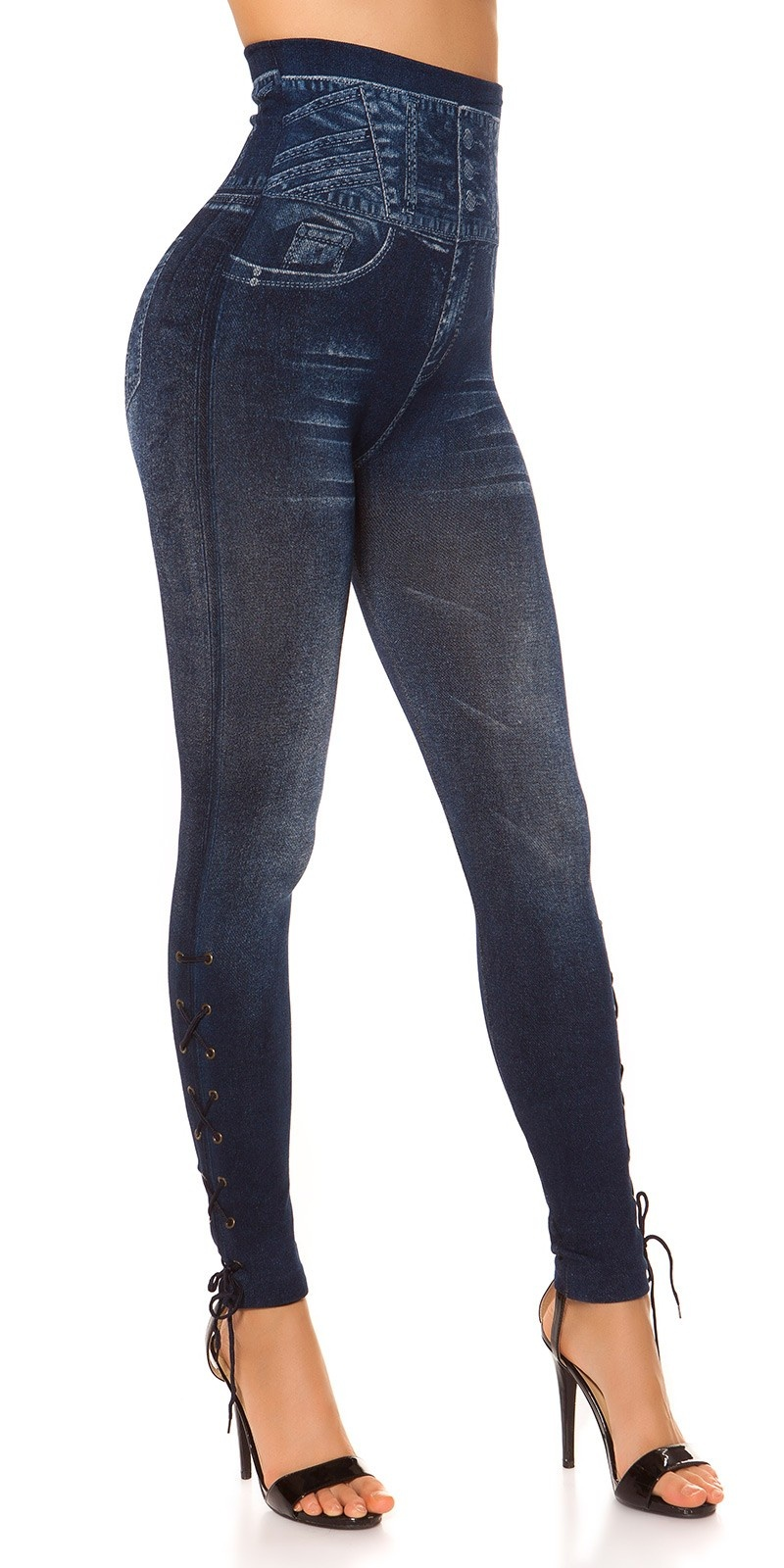 Sexy Highwaist Jeanslook Leggings w. Lacing Blue