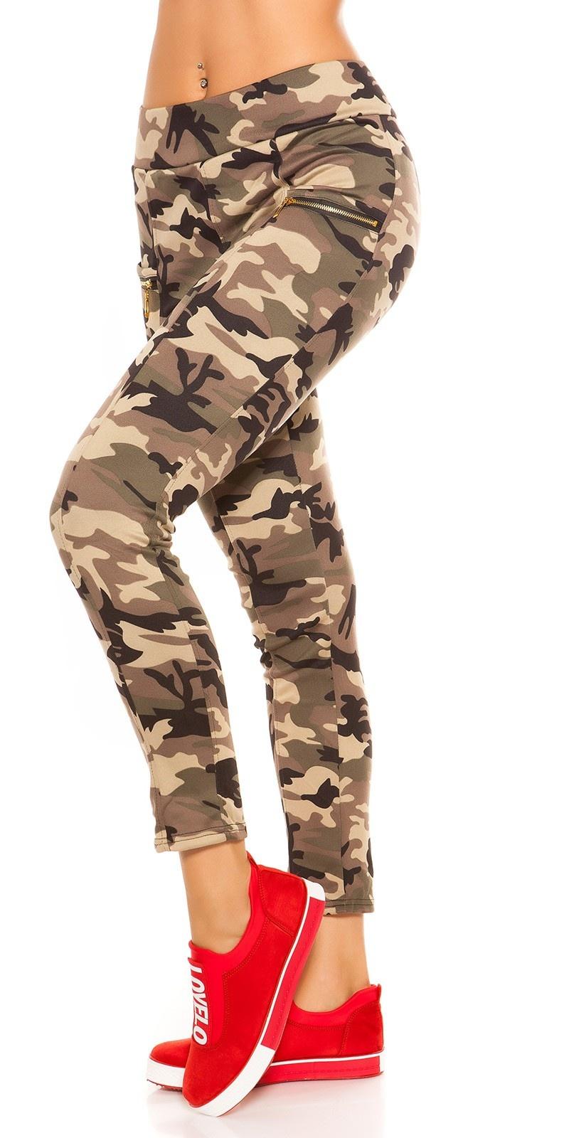 Trendy camouflage look leggings met ritssluitingen beige