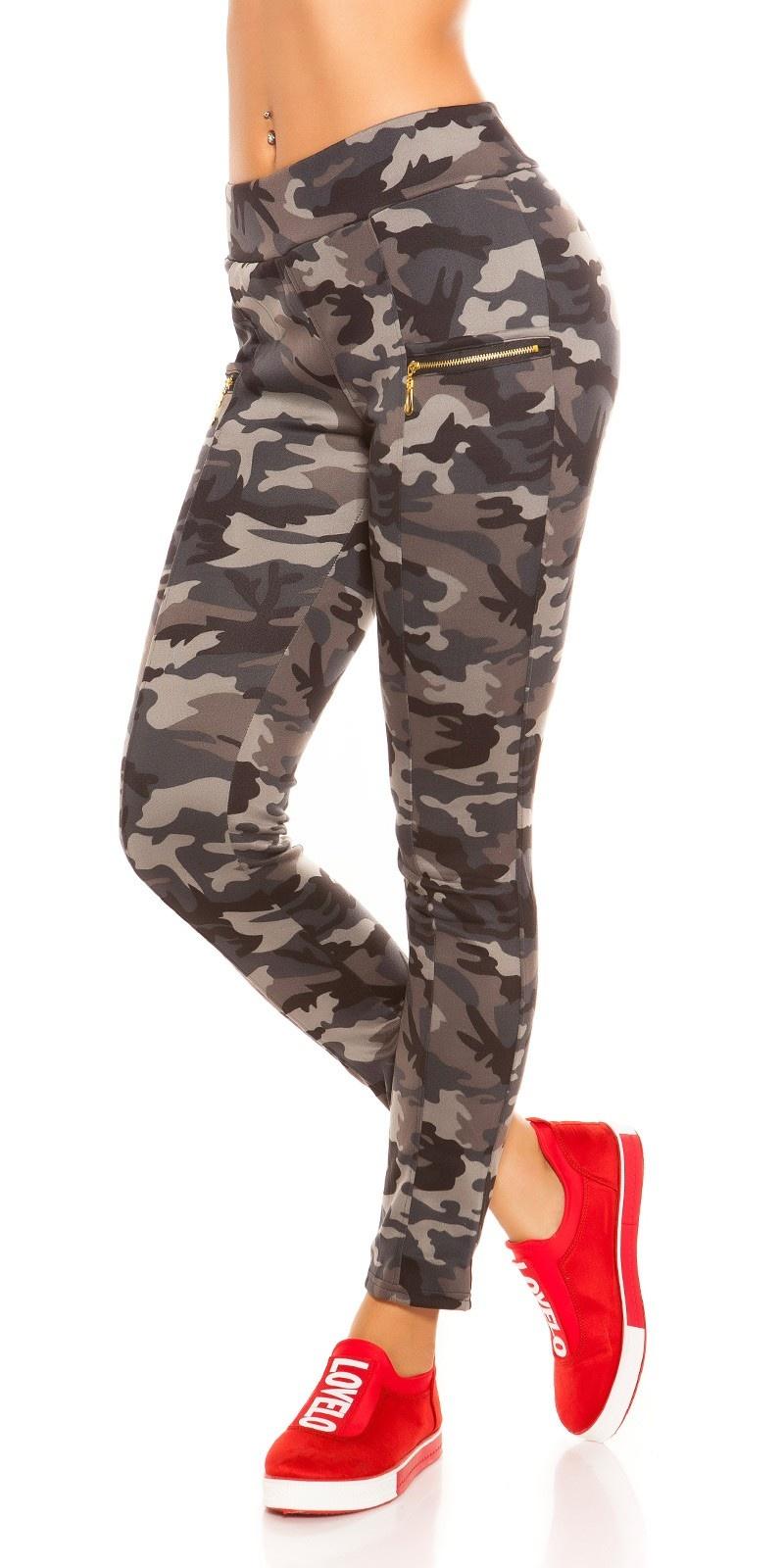 Trendy camouflage look leggings met ritssluitingen grijs