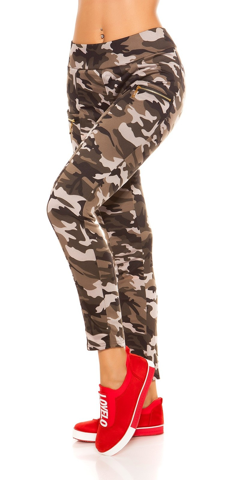 Trendy camouflage look leggings met ritssluitingen khaki