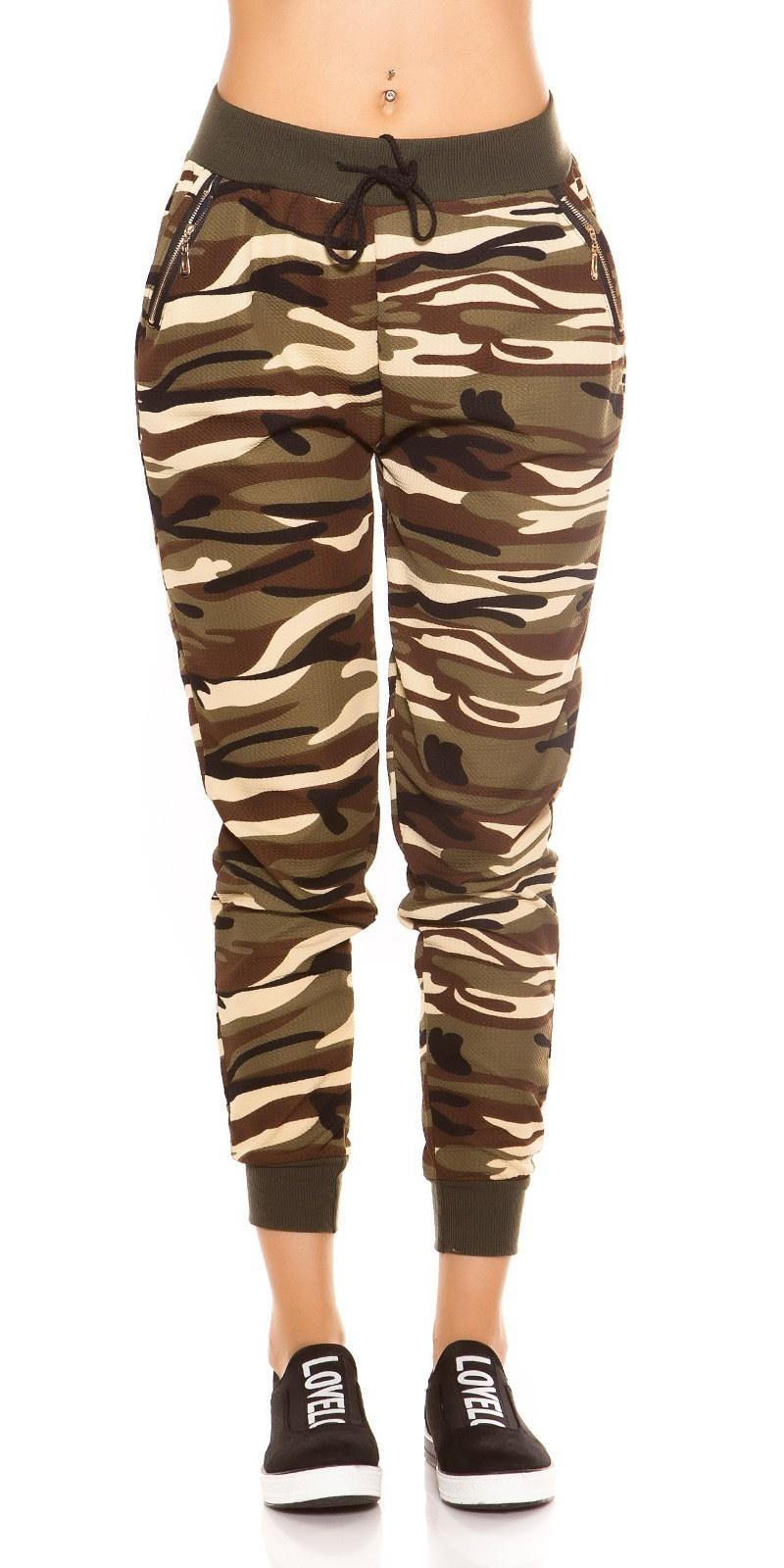 Trendy camouflage joggingbroek beige