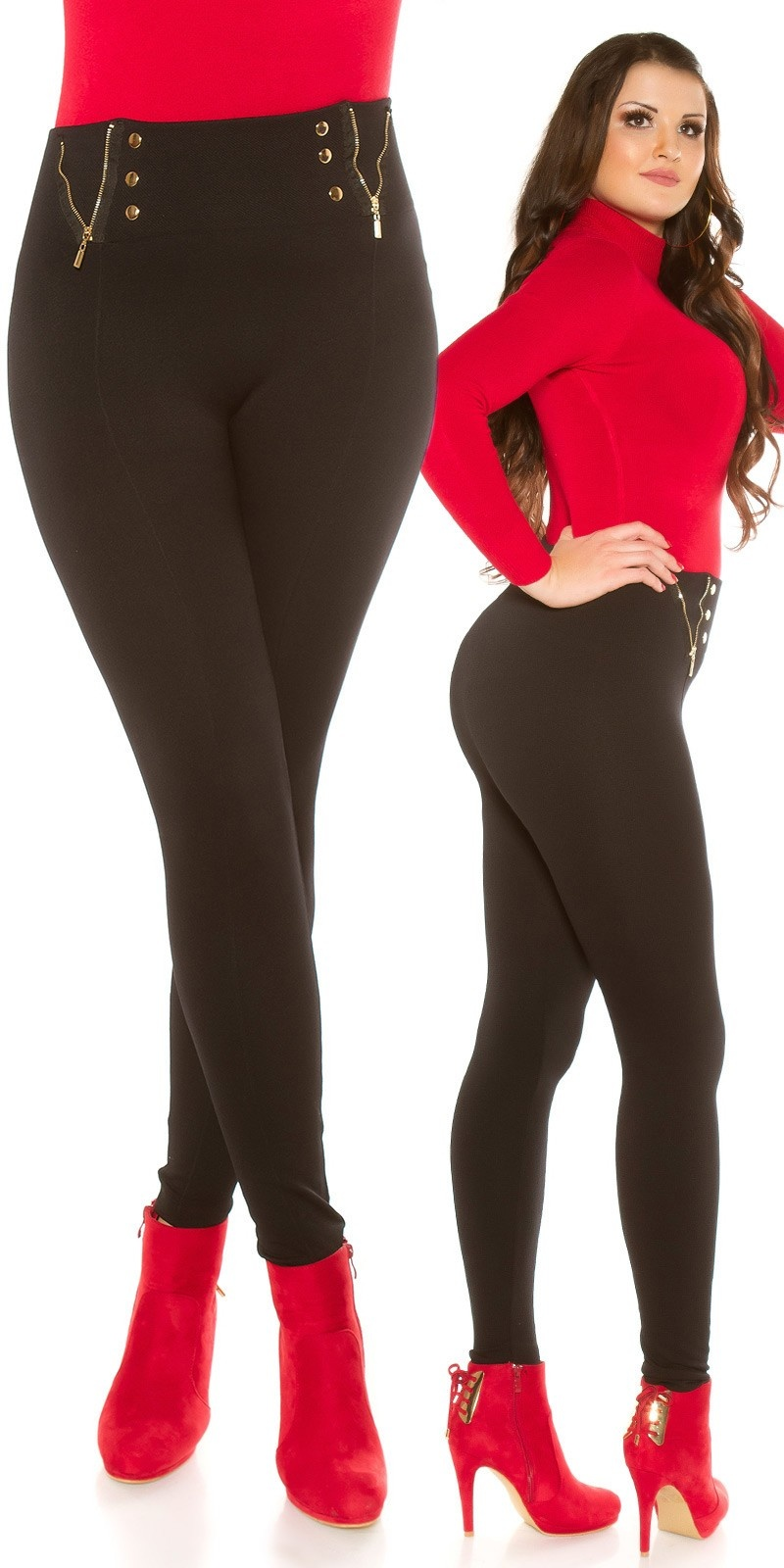 Curvy Girls Size! Trendy Shape Thermal Leggings Black