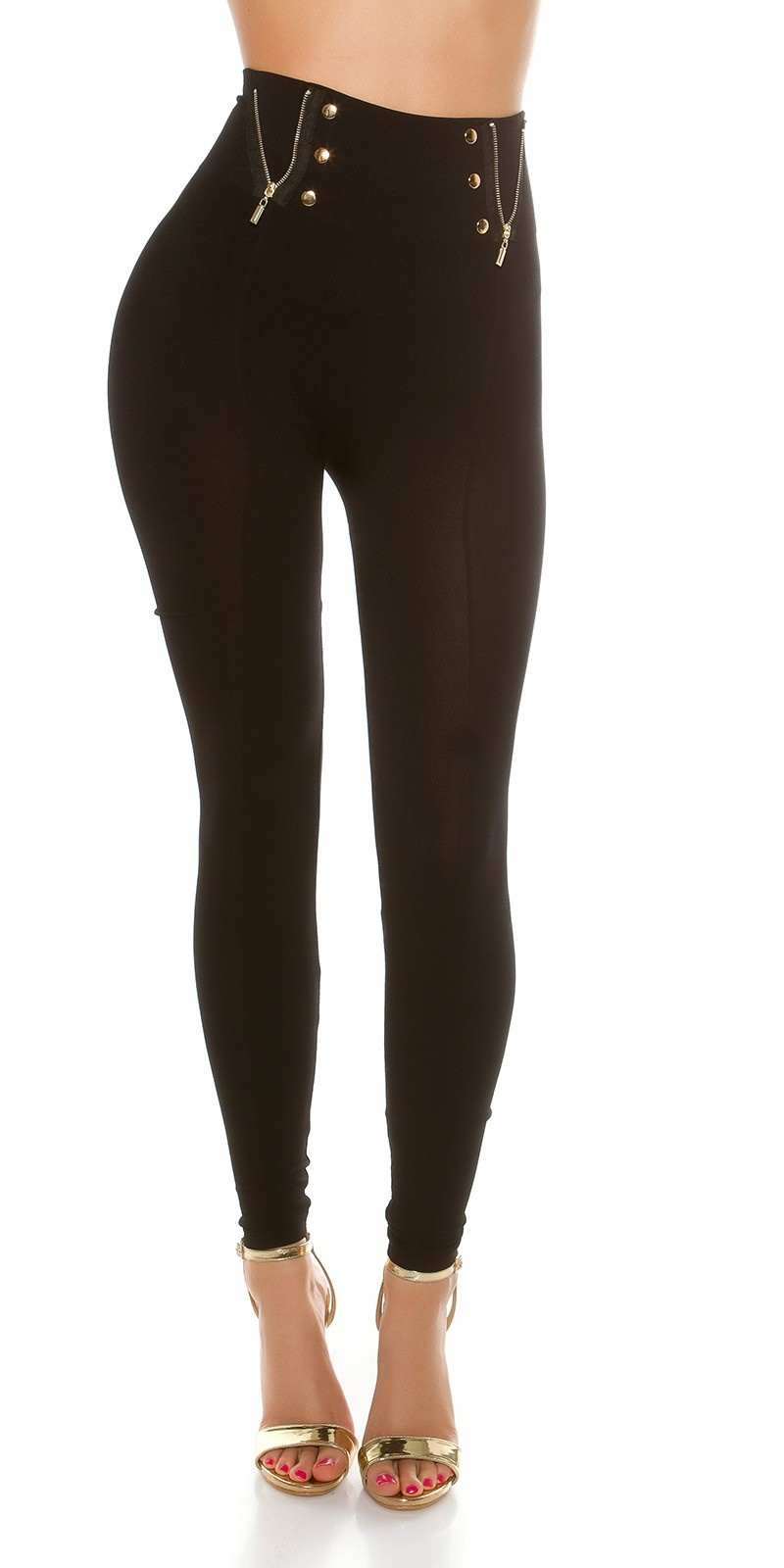 Sexy High Waist leggings with deco buttons&zips Black