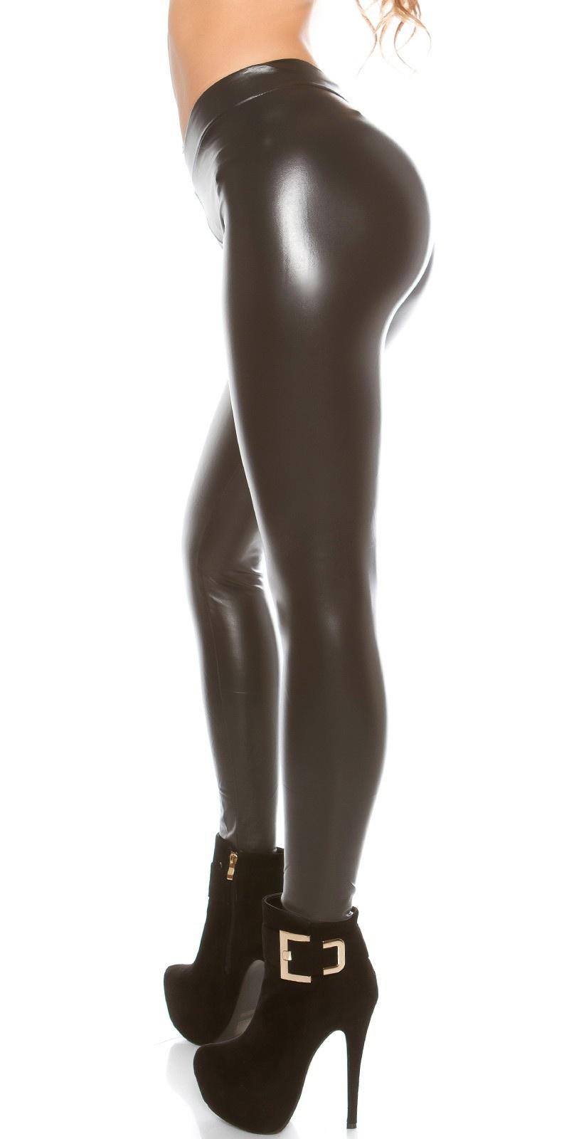 Sexy thermo wetlook legging antraciet