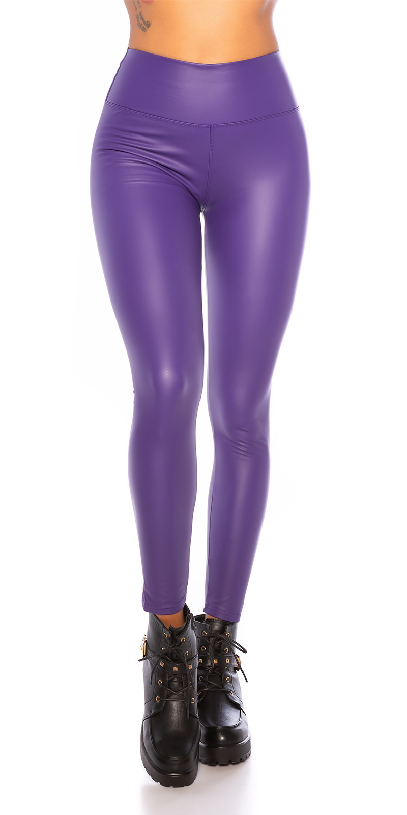 Sexy wetlook thermo leggings paars