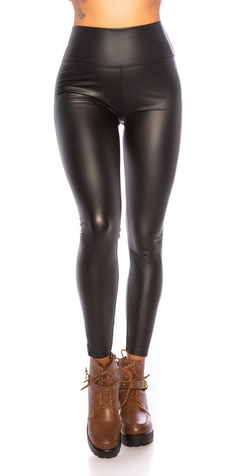 Sexy wetlook thermo leggings zwart