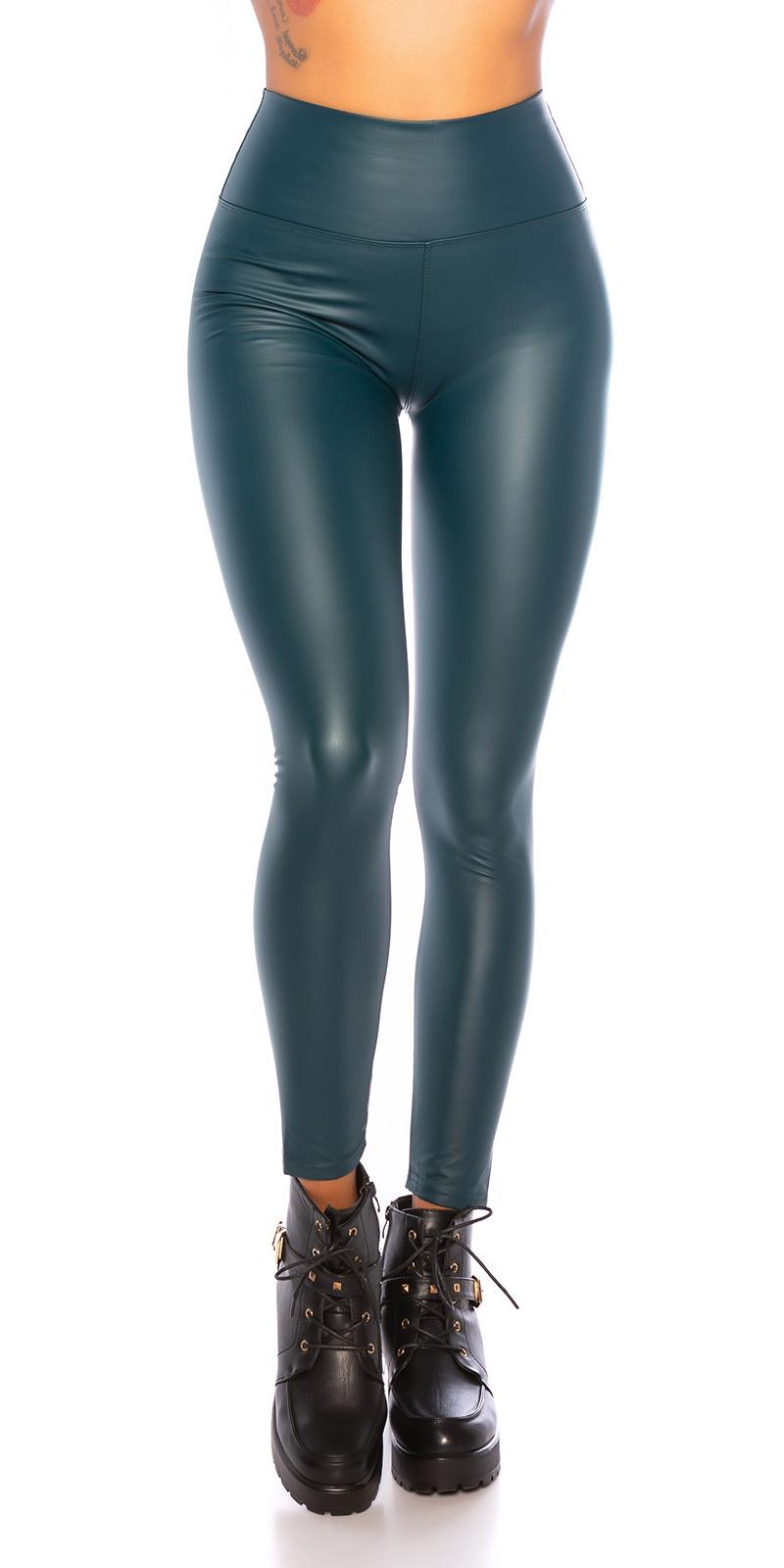 Sexy wetlook thermo leggings groen