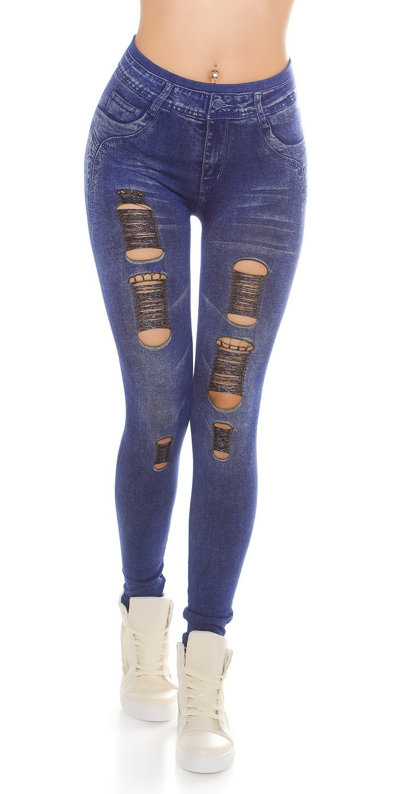 Trendy Jeanslook-Leggins with cracks Lightblue