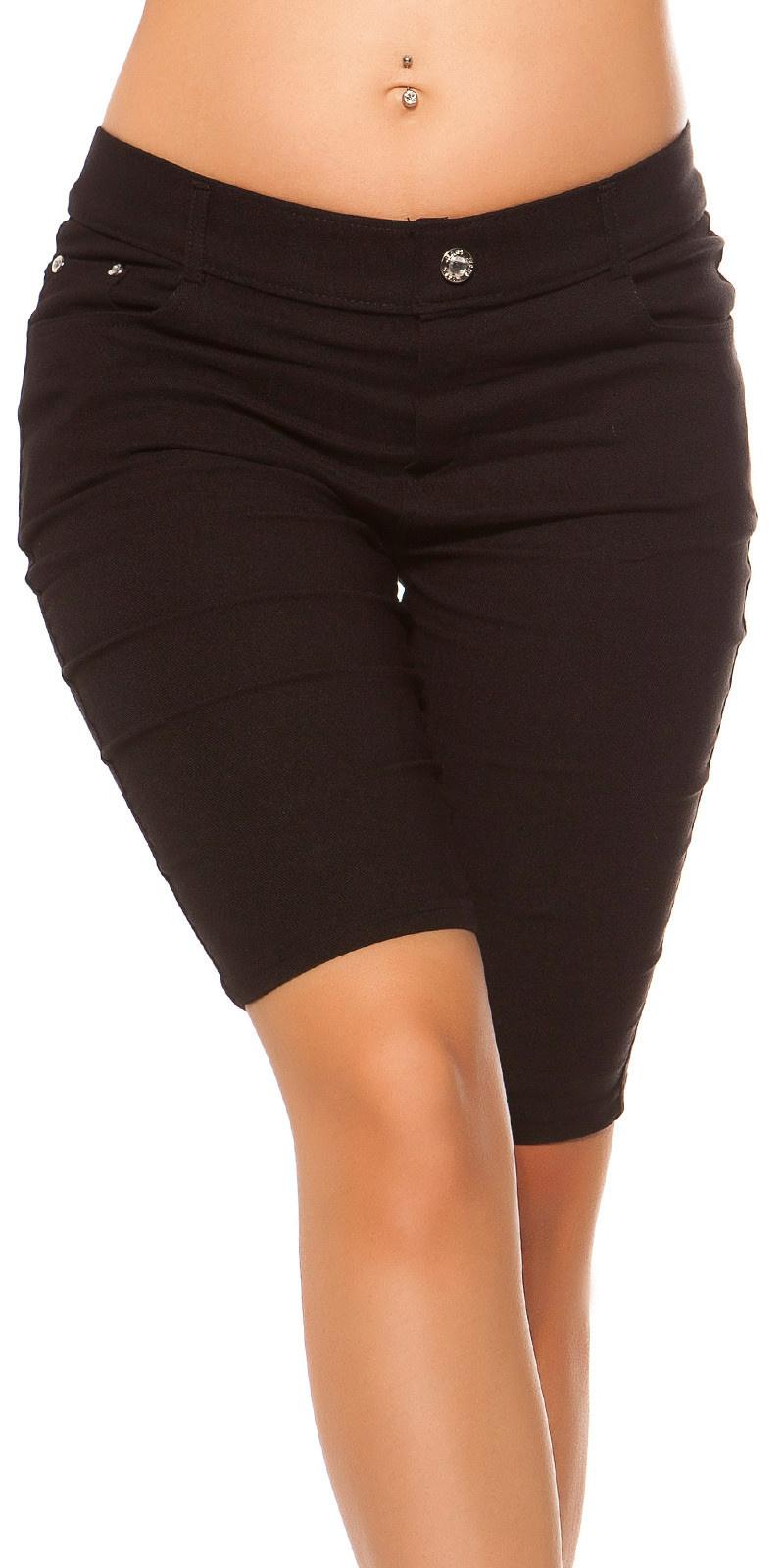 Trendy jeans look bermudas met strass steentjes zwart