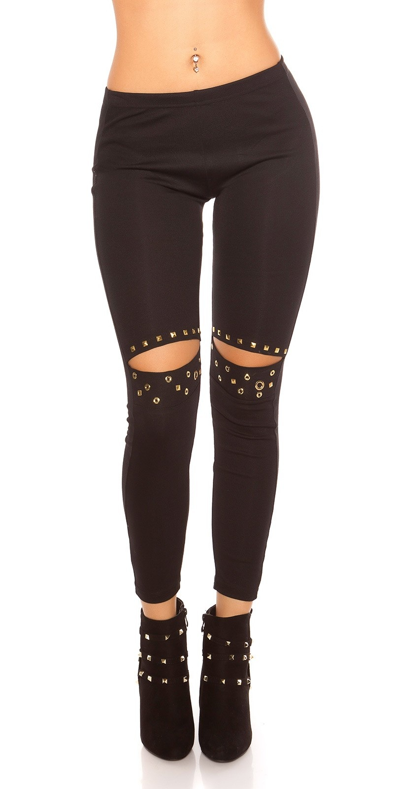 Sexy leggings with rivets and cut out Black