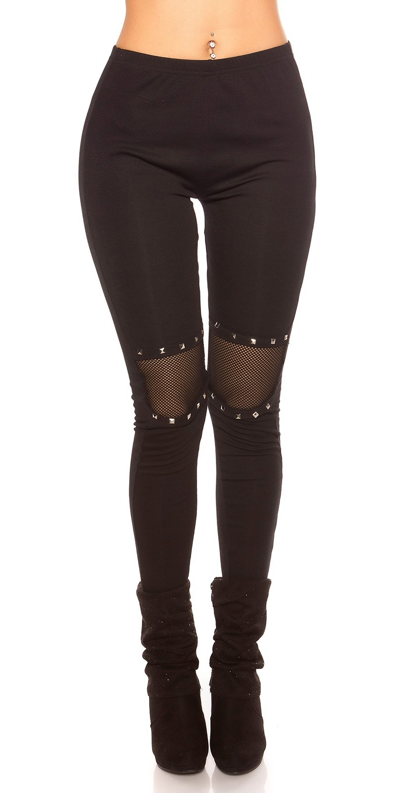 Sexy leggings with net and rivets Black