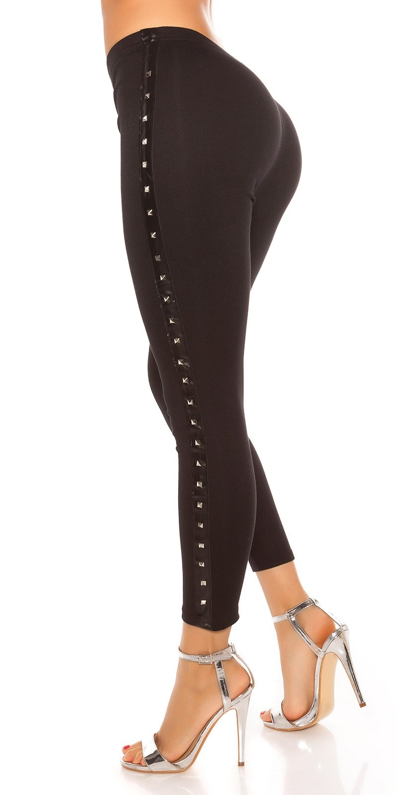 Sexy leggings met klinknagels zwart
