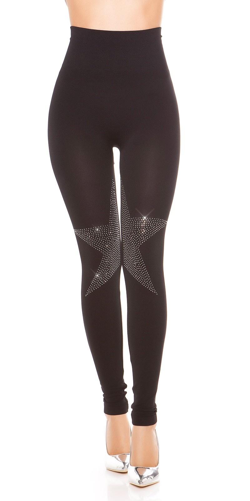 Trendy leggings with rivets Star pattern Black