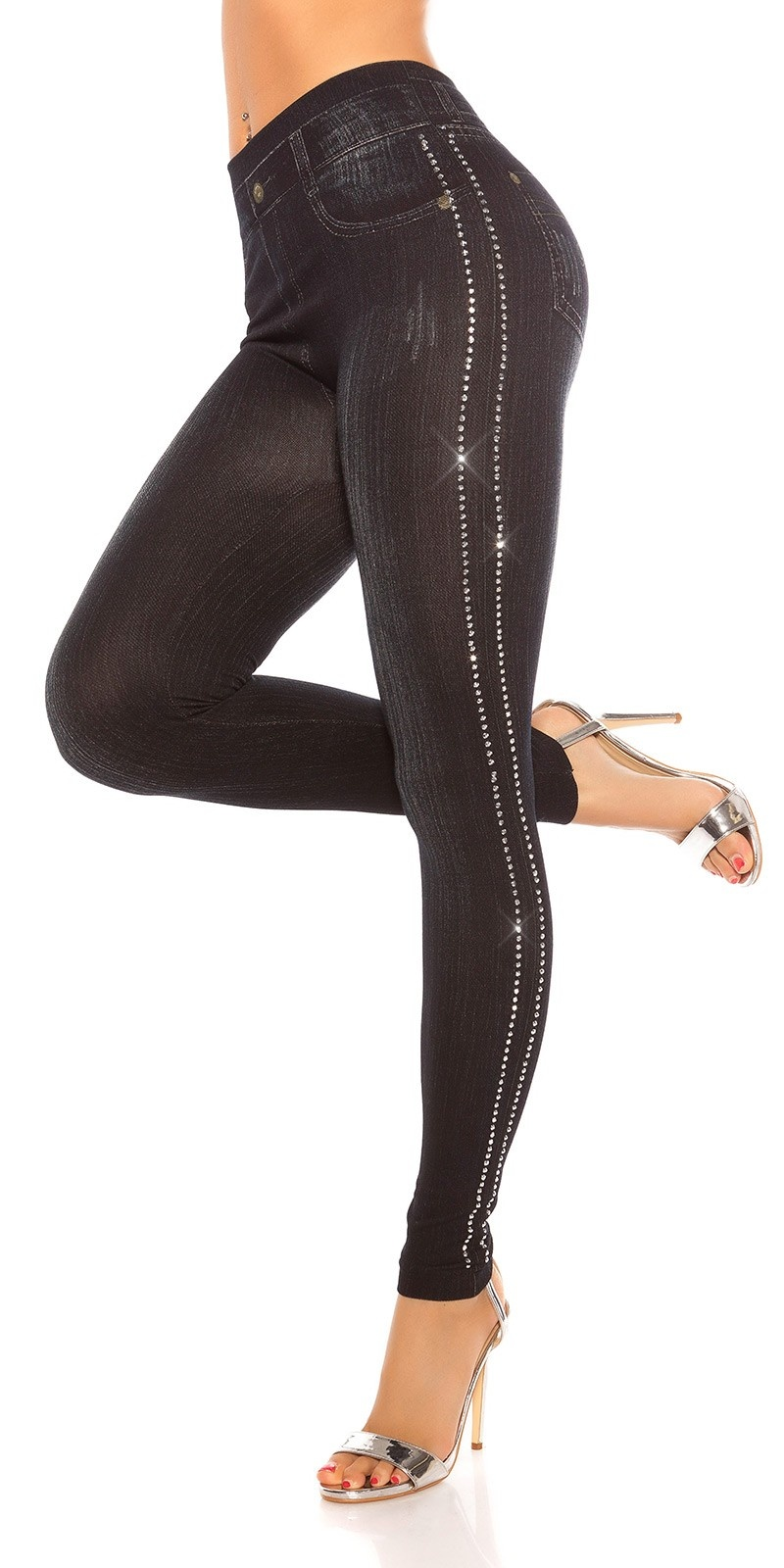 Sexy Jeanslook Leggings with rivets Black