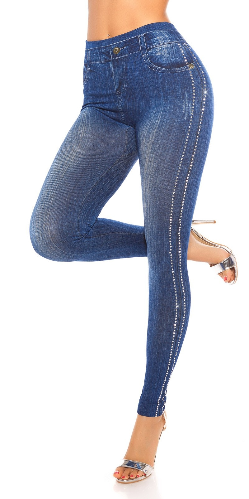 Sexy Jeanslook Leggings with rivets Blue