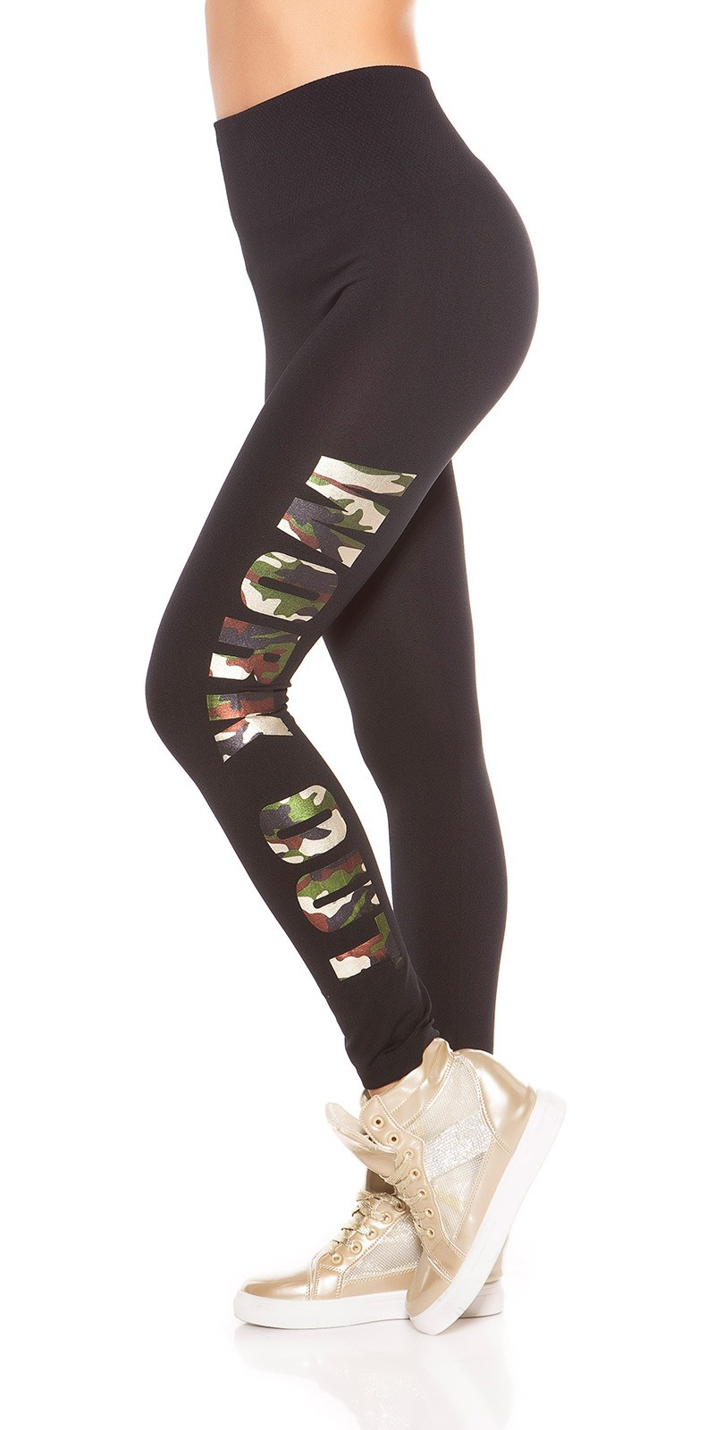 Sexy leggings met print work out leger-kleurig