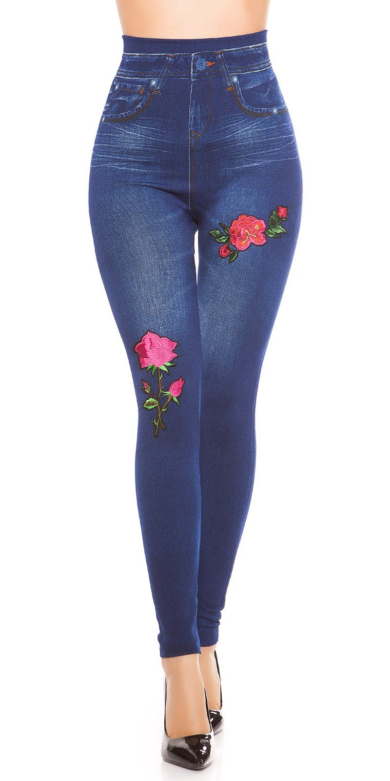 Sexy denim look leggings lined with patch Jeansblue