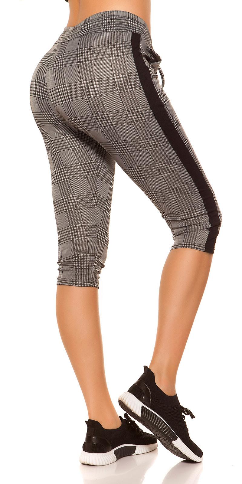 Trendy capri-driekwarts joggingbroek geruit zwart