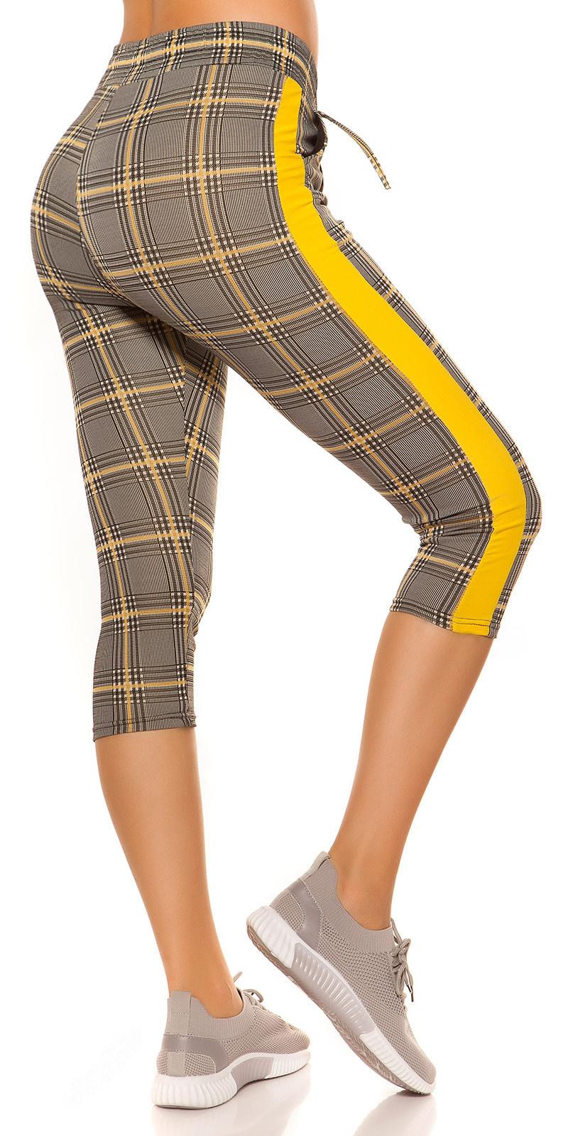 Trendy capri-driekwarts joggingbroek geruit geel