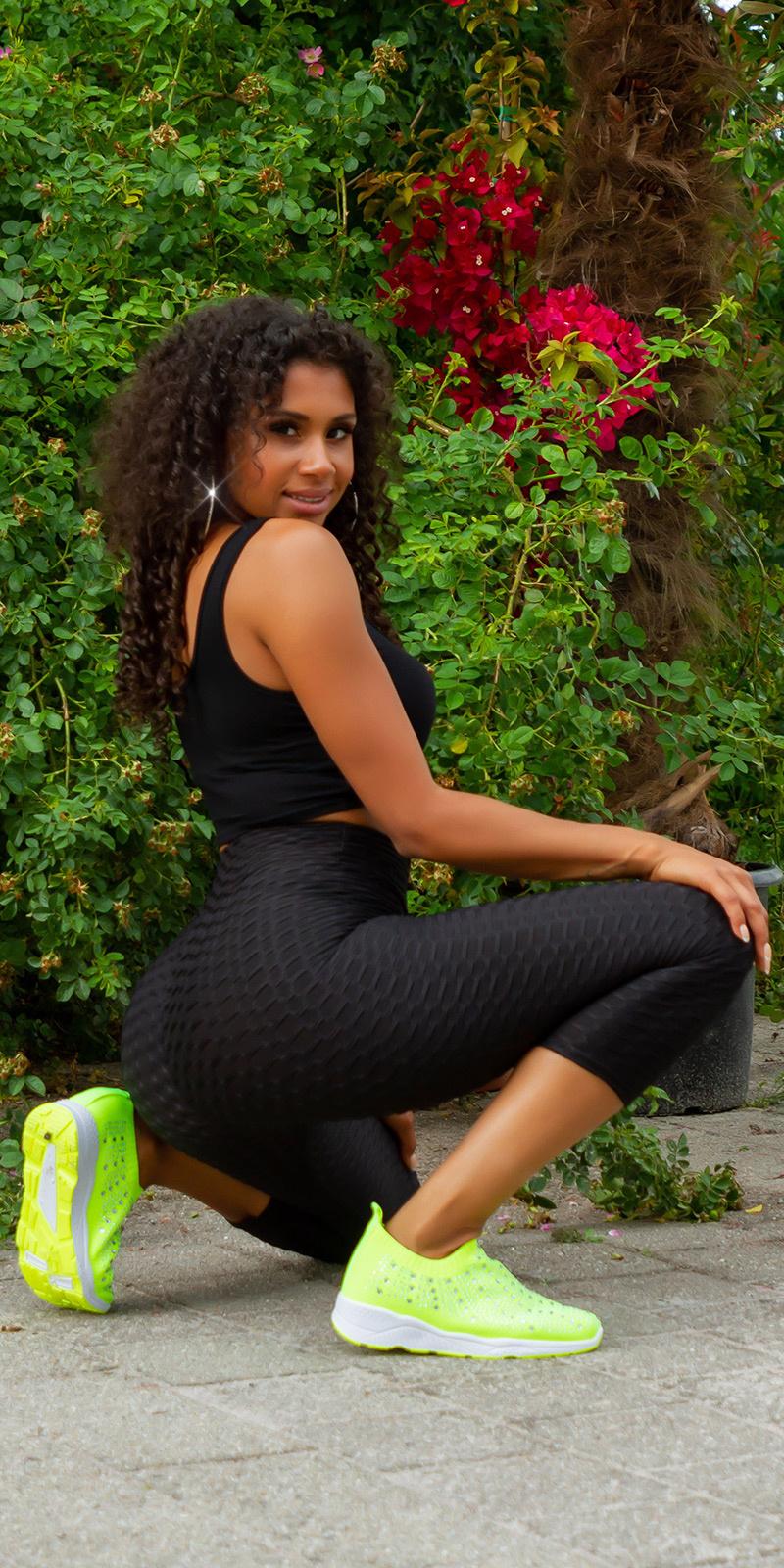Sexy hoge taille 7/8 leggings zwart