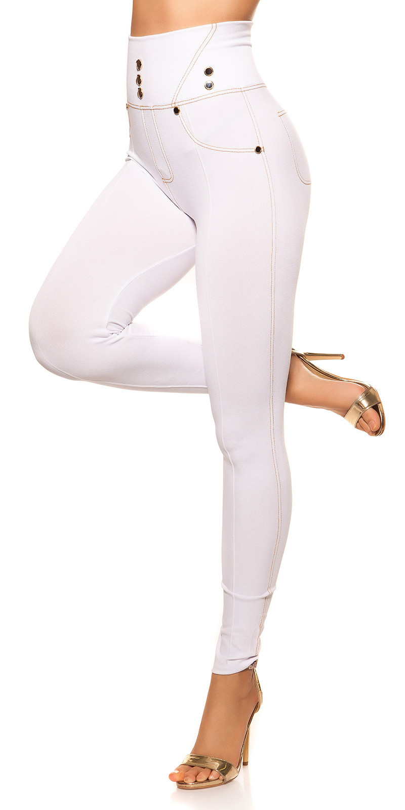 Sexy Jeanslook-Leggings with buttons White