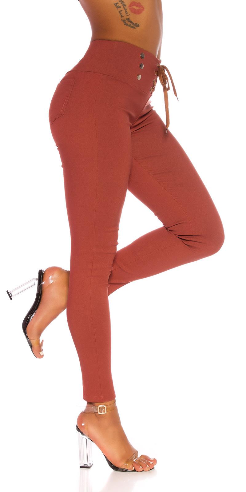 Sexy hoge taille broek met veter brons