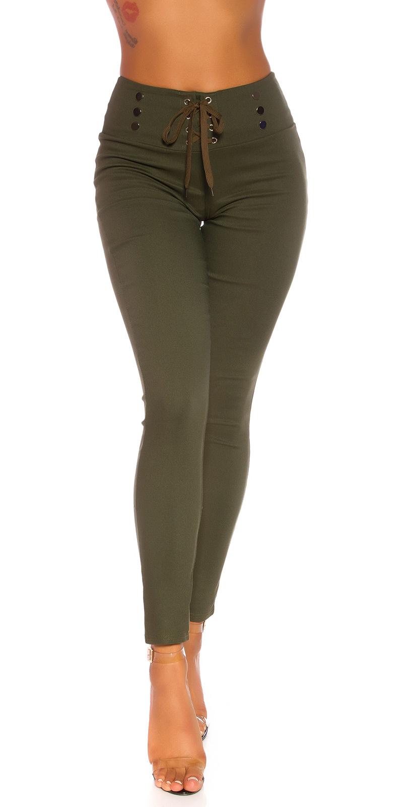 Sexy hoge taille broek met veter khaki