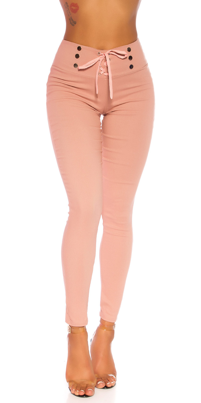 Sexy hoge taille broek met veter roze