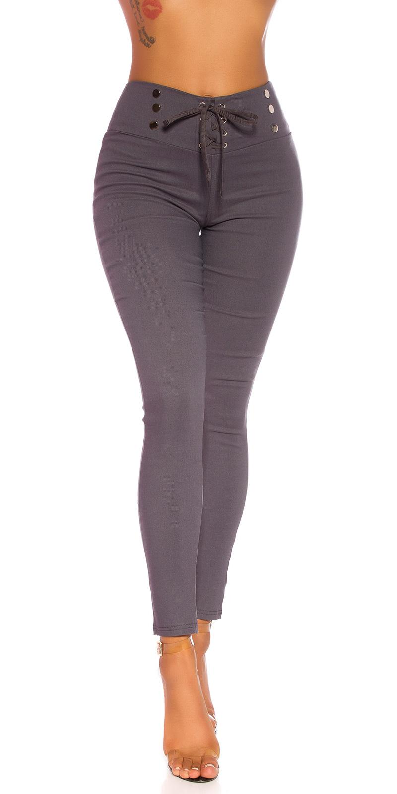 Sexy hoge taille broek met veter gray
