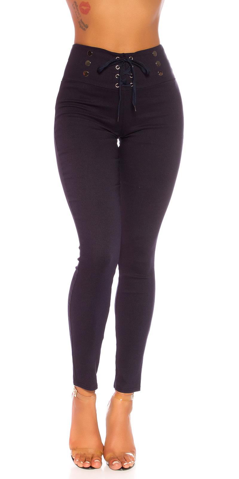 Sexy hoge taille broek met veter marineblauw