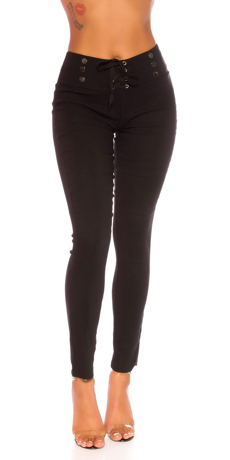 Sexy hoge taille broek met veter zwart