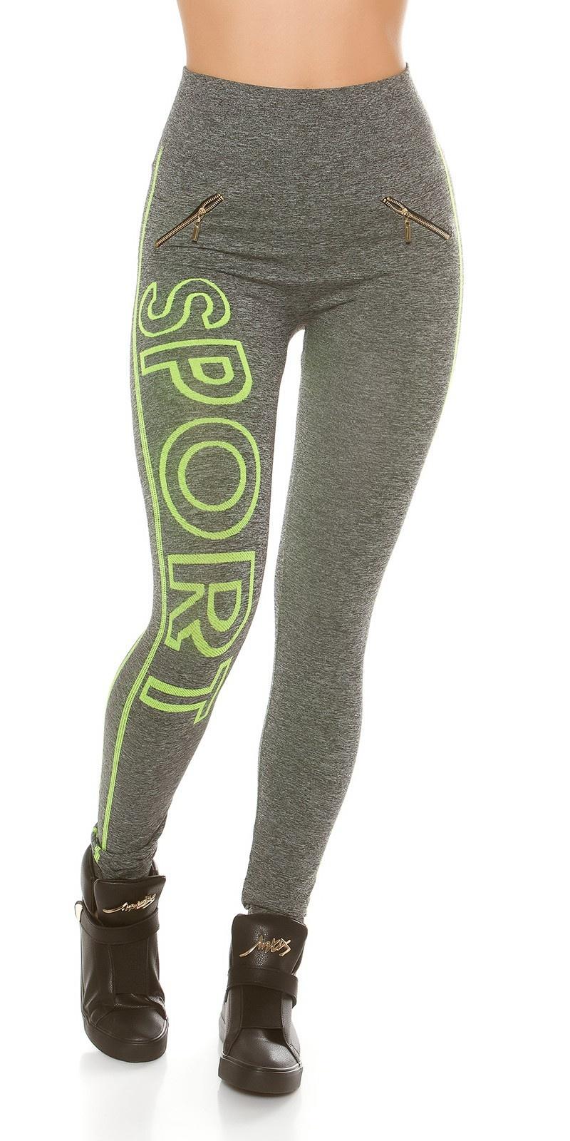 Trendy workout-sport leggings met belettering neongeel