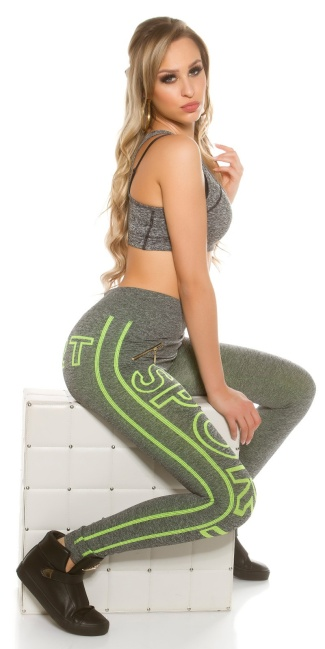Trendy Workout Leggings with lettering Neonyellow