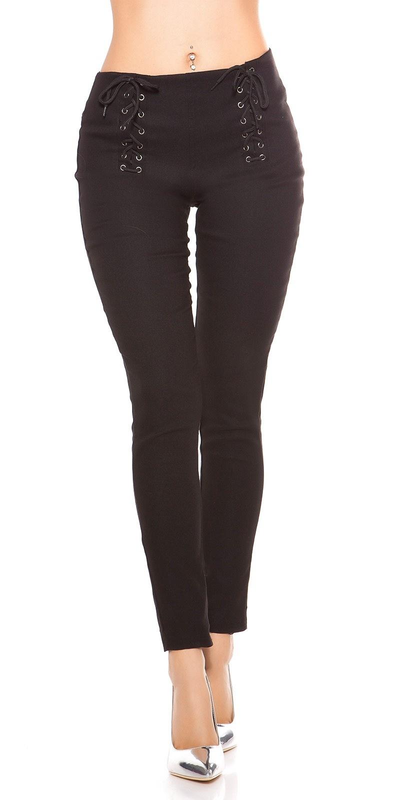 Sexy leggings met veter zwart