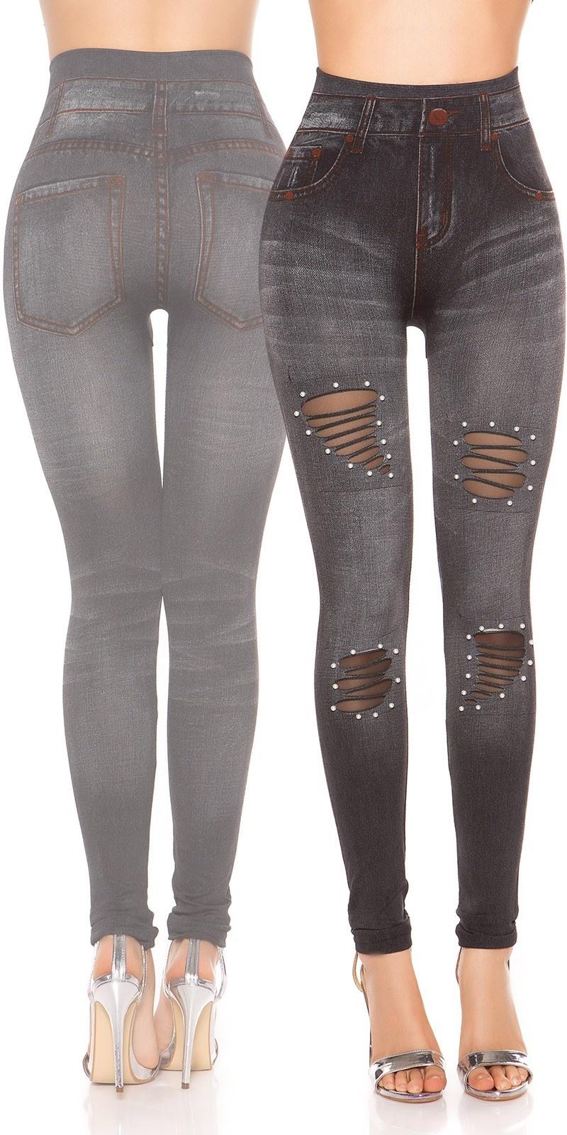 Sexy jeanslook-leggings met kralen zwart