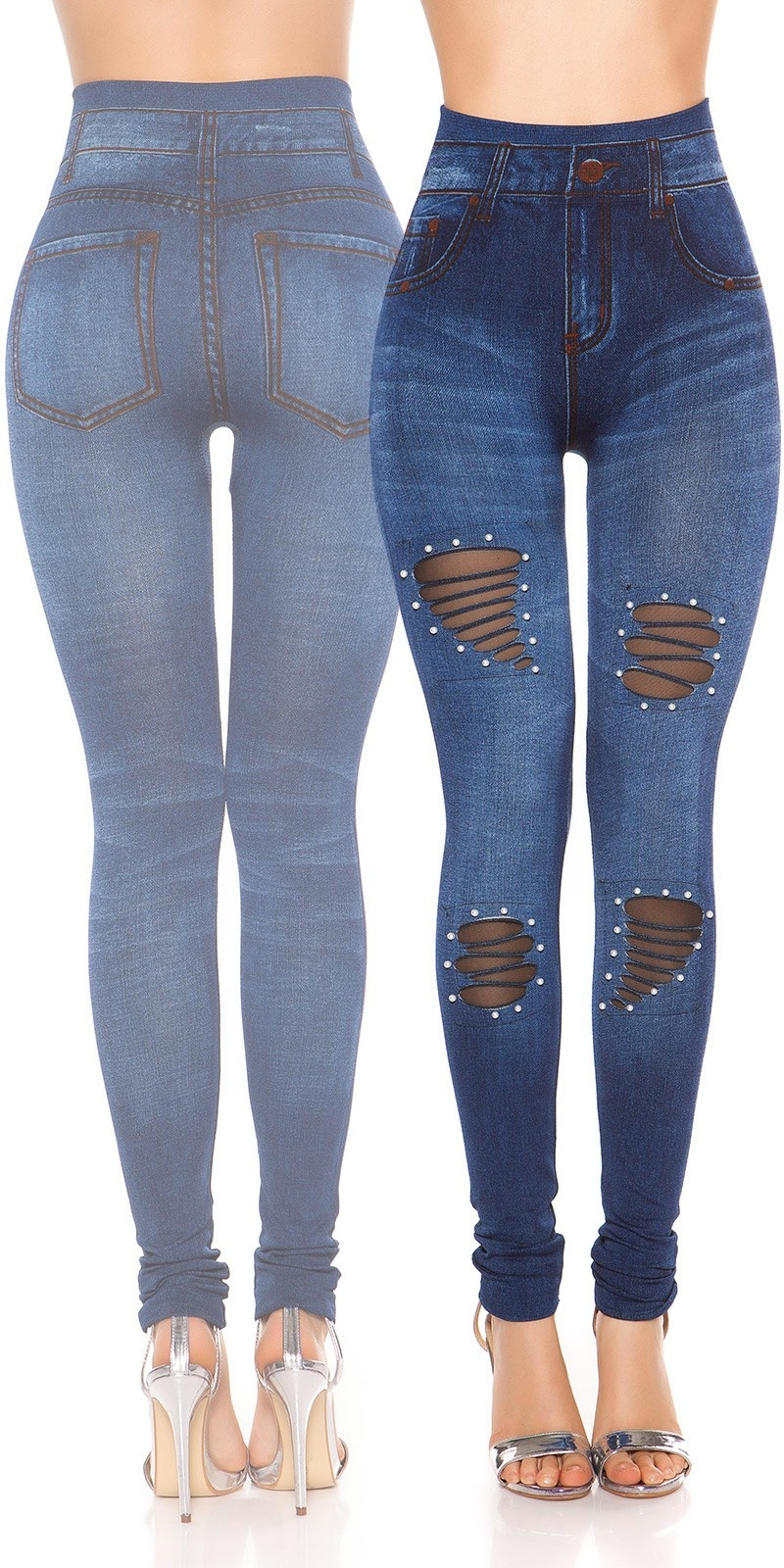 Sexy Jeanslook-Leggings with beads Blue